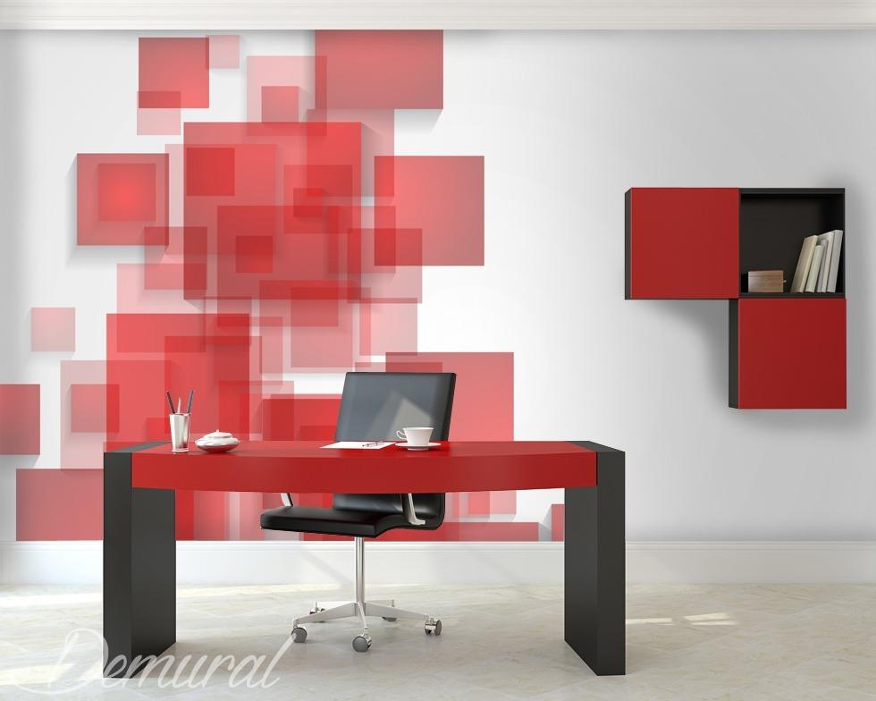 Kontrolliertes Chaos - Rote Fototapete
