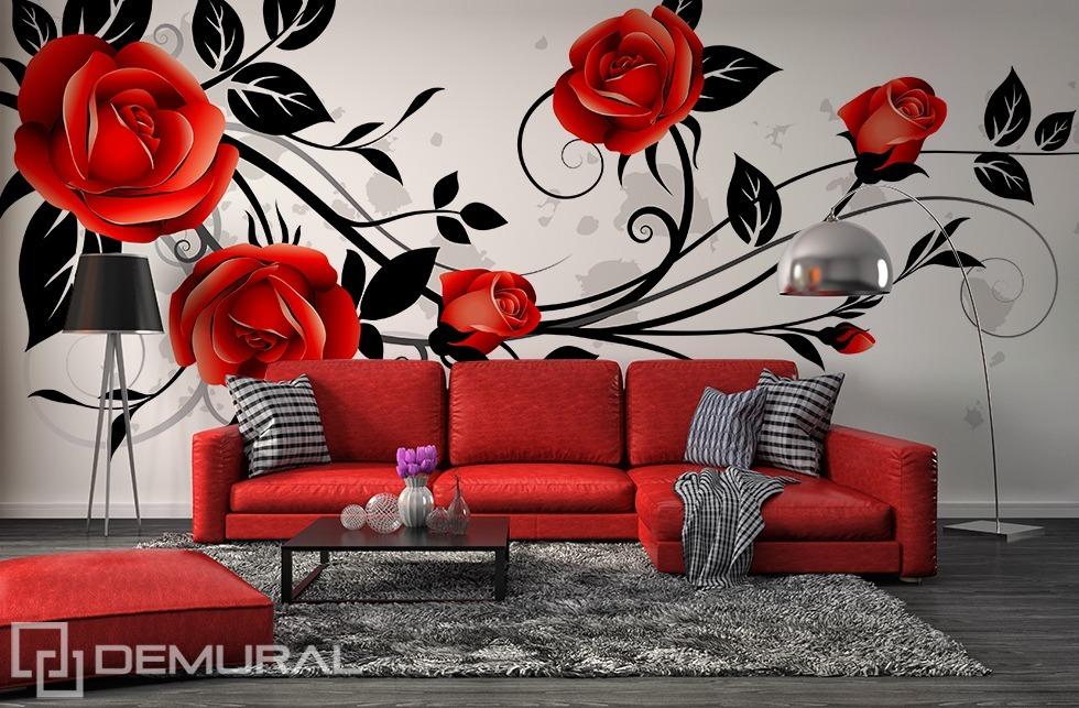Rankende Rose - Rote Fototapete