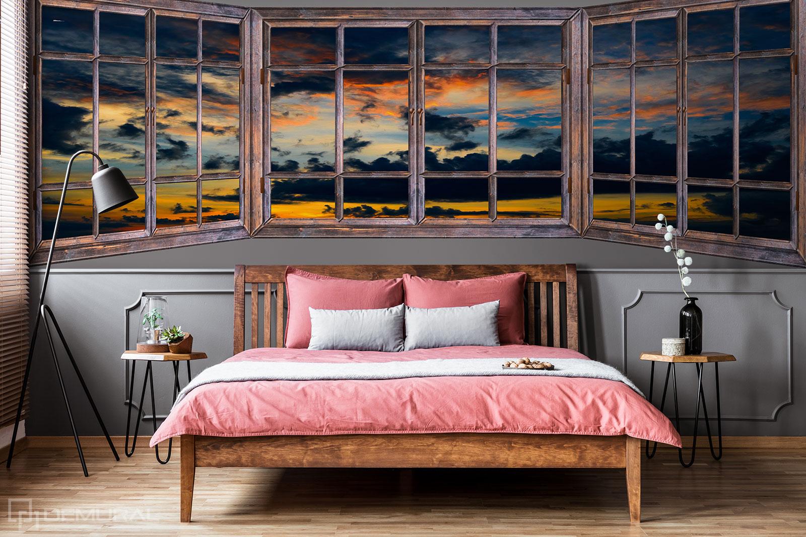 Fototapete Sonnenuntergang vor dem Fenster - Fototapete fenster - Demural