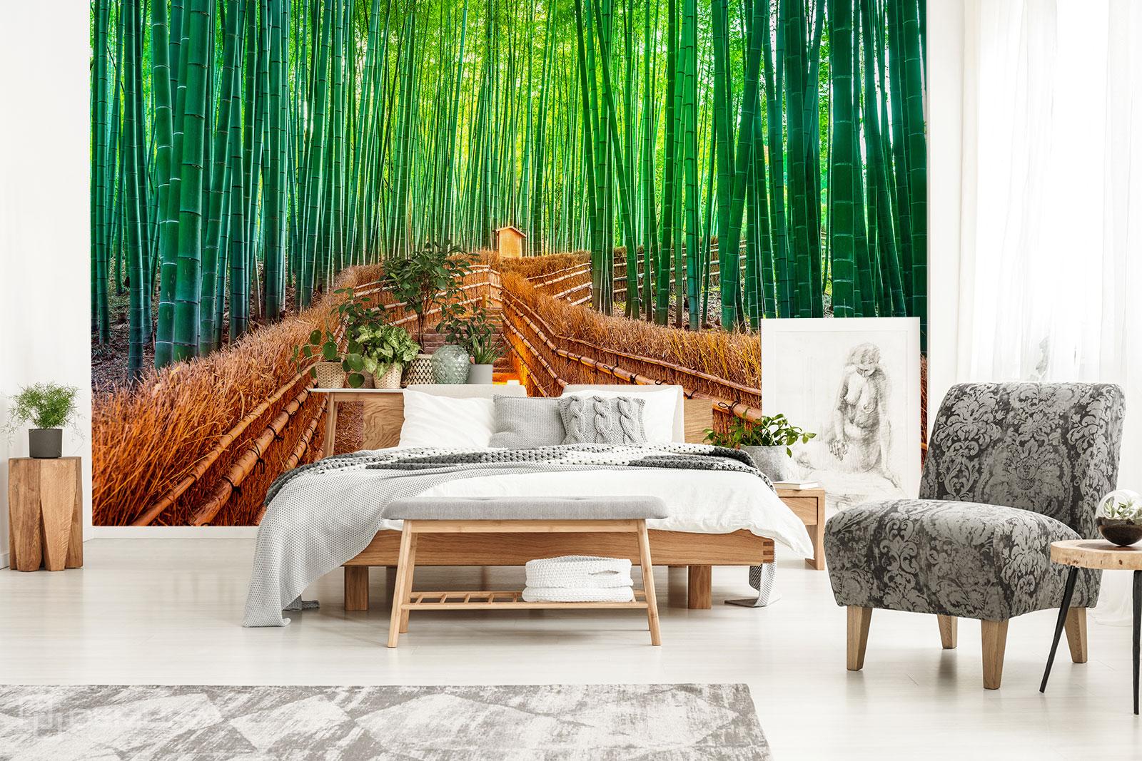 Fototapete Treppe in einem Bambuswald - Fototapete bambus
