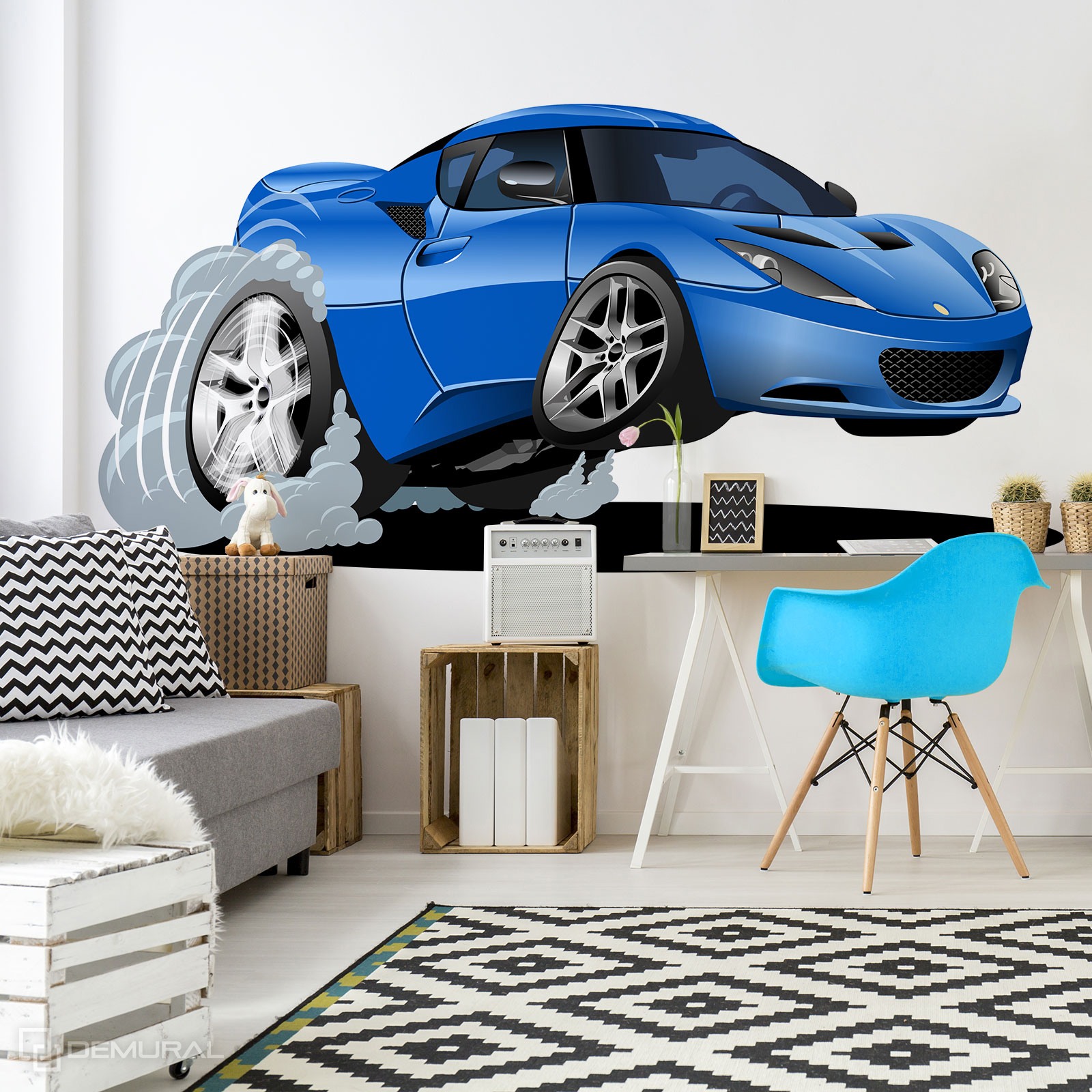 Fototapete Speeding Spielzeugauto - Fototapete mit Auto - Demural