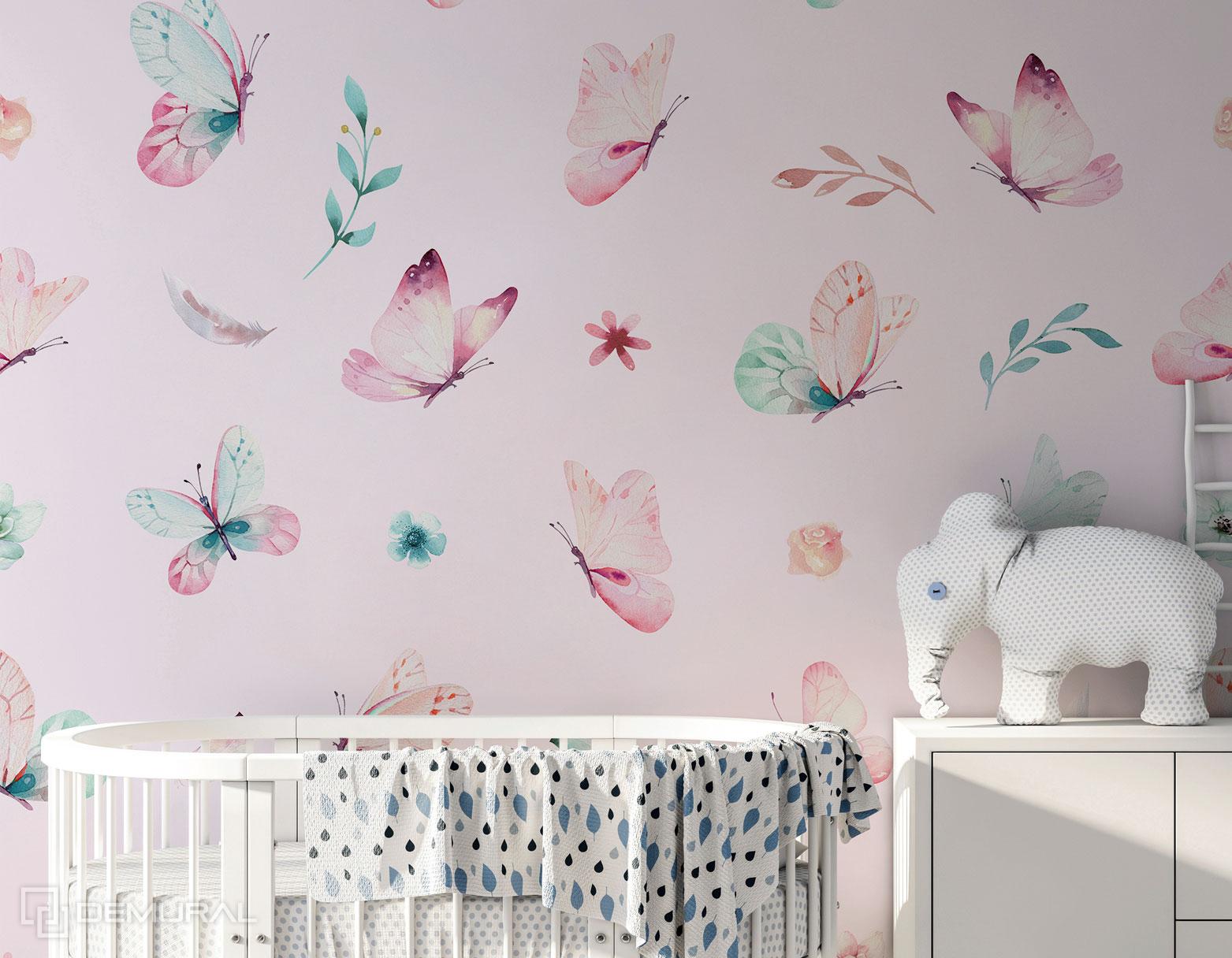 Fototapete Tanz der Schmetterlinge - rosa Fototapete - Demural