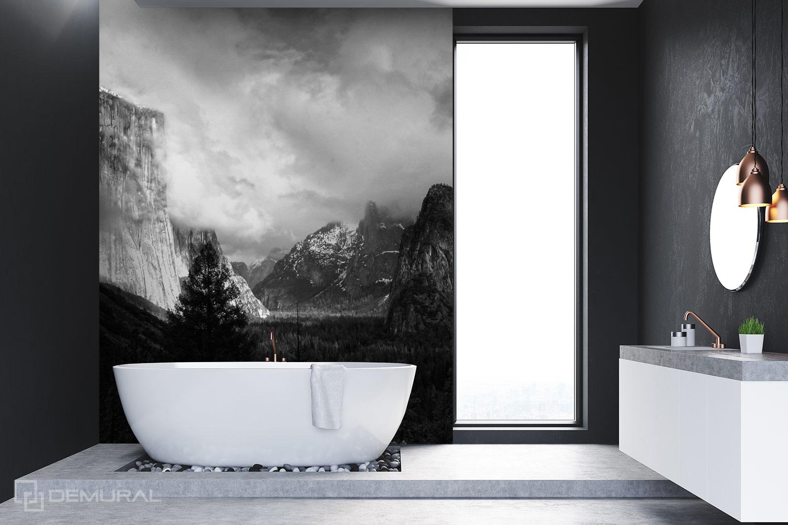Fototapete  Panorama der Berge - Schwarzweißes Badezimmer - Demural