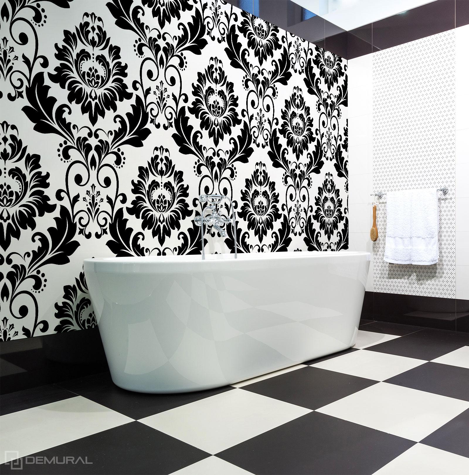 Fototapete  Klassisches Schwarz und Weiß - Schwarzweißes Badezimmer - Demural