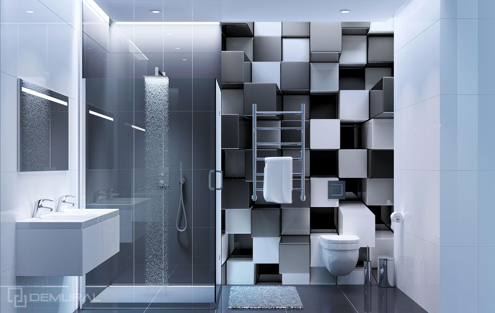Fototapete 3D Würfel - Schwarzweißes Badezimmer - Demural