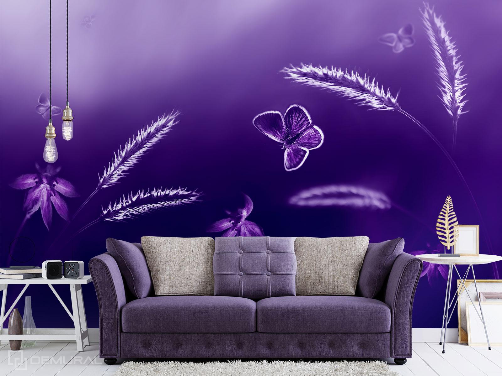 Fototapete Violett Wiese - Ultraviolett Fototapete - Demural