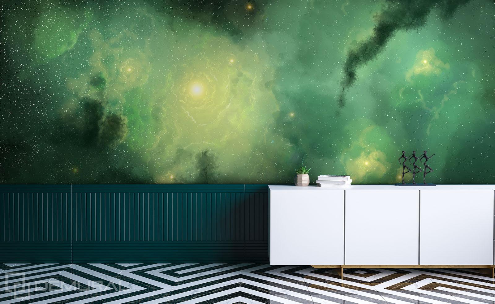 Fototapete Grüner Kosmos - 3D Fototapete - Demural