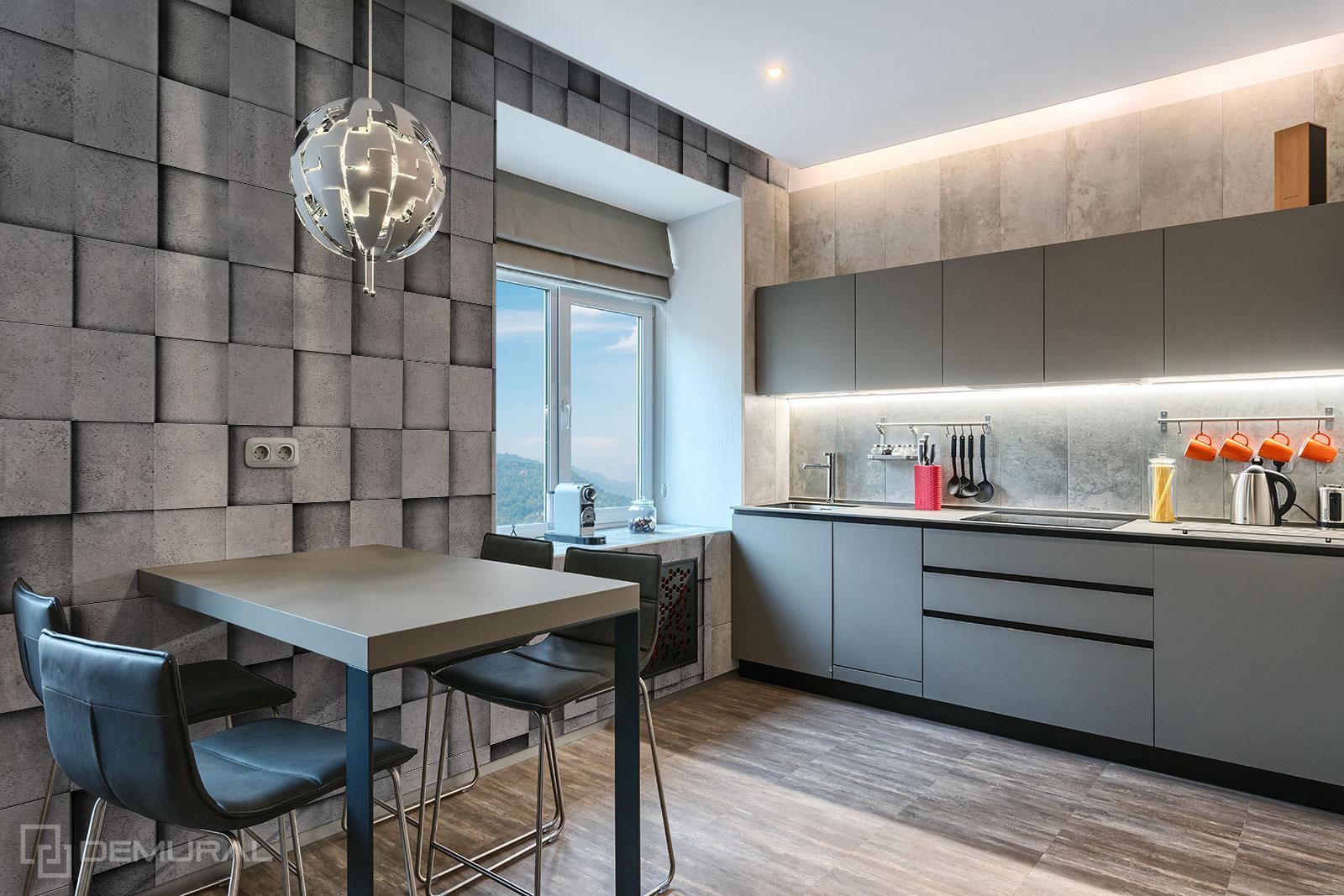 Fototapete Beton-Würfel - Fototapete für große Küche - Demural