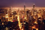 Chicago in der Nacht. Fototapete.