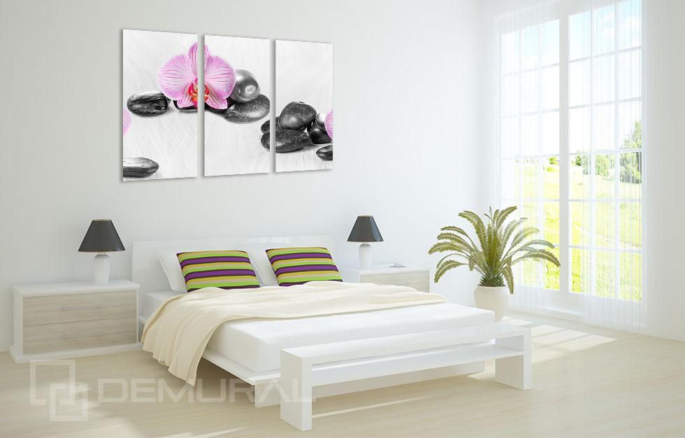 bild leinwand bilder rosa orchideen und steine wandbilder blumen b3d125 ebay. Black Bedroom Furniture Sets. Home Design Ideas