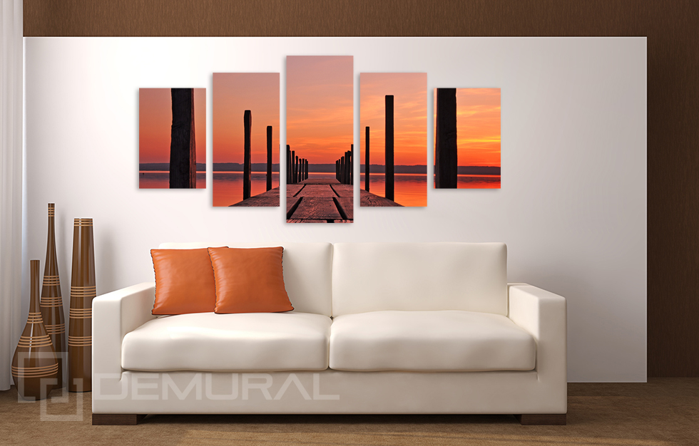 Bild Foto Leinwand Bilder Steg am Ammersee Wandbilder Sonnenuntergang B5D131