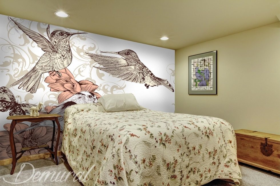 Gemalter vogel fototapeten tiere fototapeten demural - Papier peint original chambre ...