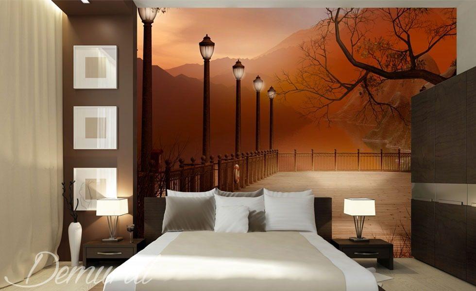 Abendschlafzimmer mit Blick - Fototapete für Schlafzimmer ...