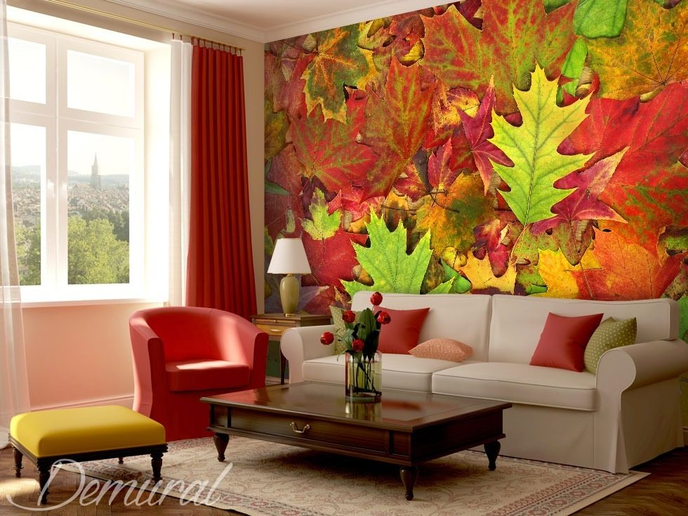 Grune Farbe In Blattern : mit der Farbe tanzende Blättern  Fototapeten Texturen  Fototapeten