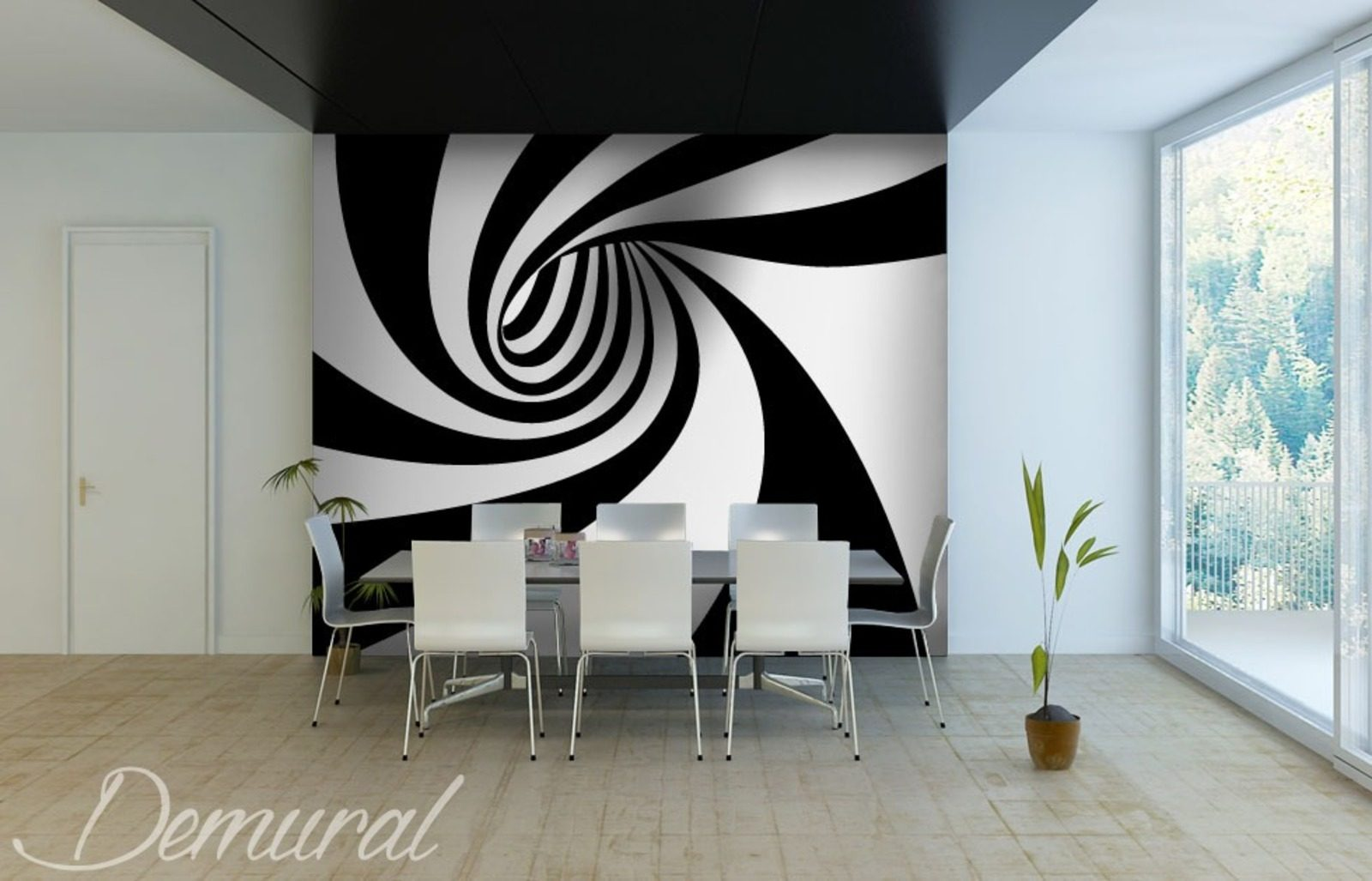 hypnotisierender tunnel fototapeten schwarz und wei fototapeten demural. Black Bedroom Furniture Sets. Home Design Ideas