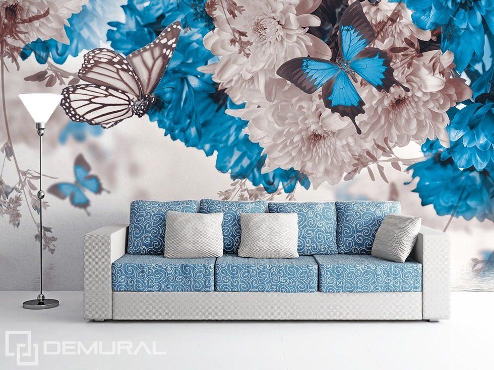 wei blaue natur fototapeten blumen fototapeten demural. Black Bedroom Furniture Sets. Home Design Ideas