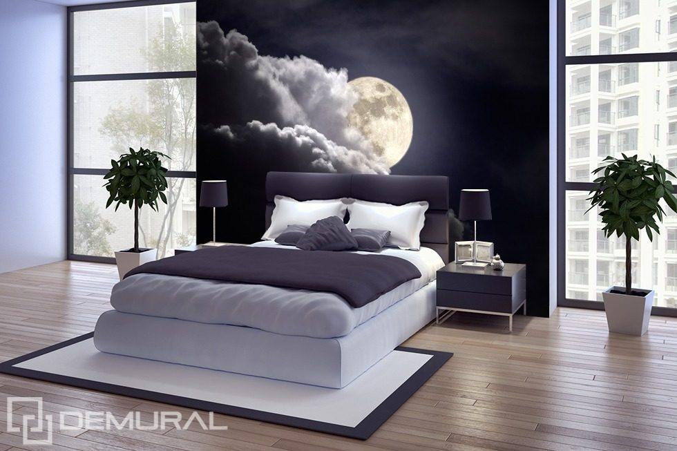 mond in der nacht fototapete f r schlafzimmer. Black Bedroom Furniture Sets. Home Design Ideas