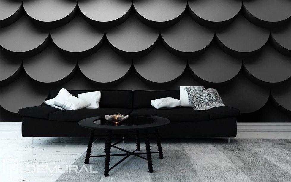 Fototapeten Schwarz Wei? : Black and White Mural