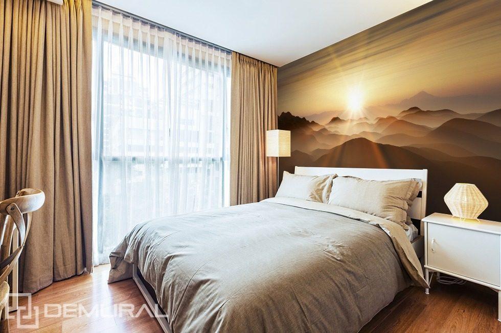 Sonnenaufgang über den Hügeln - Fototapete für Schlafzimmer ...