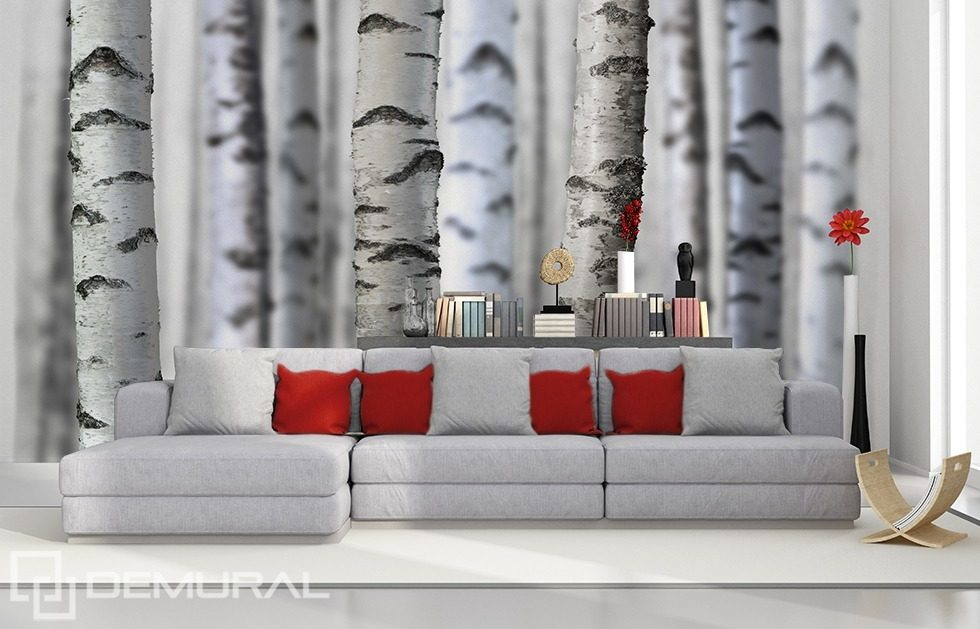 Fototapeten Schwarz Wei? : Black and White Forest Wall Mural