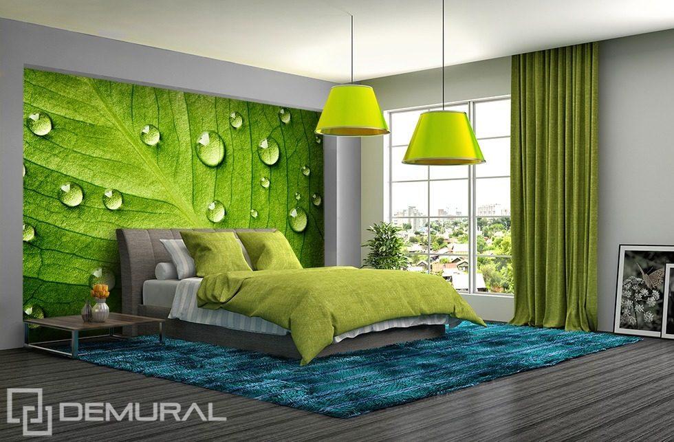 ... mit Blättern - Fototapete für Schlafzimmer - Fototapeten - Demural