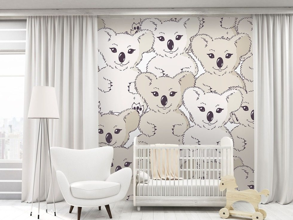 mit koalab r an der wand fototapete f r kinderzimmer. Black Bedroom Furniture Sets. Home Design Ideas
