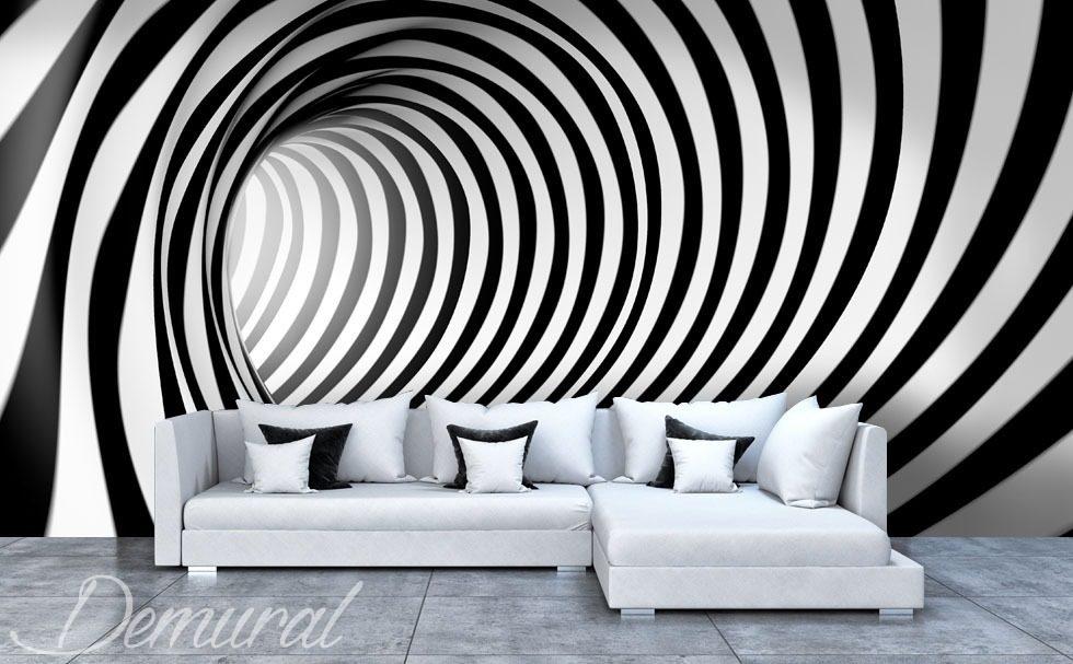 Fototapeten In Schwarz Wei? : Black and White 3D Wall Mural