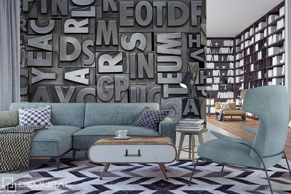 die wand mit den buchstaben fototapeten texturen. Black Bedroom Furniture Sets. Home Design Ideas