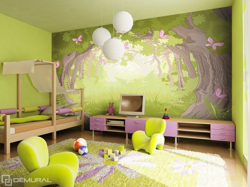 in der magischen waldwelt fototapete f r kinderzimmer. Black Bedroom Furniture Sets. Home Design Ideas